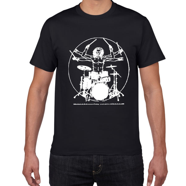 Da Vinci Drums T Shirt Men Cotton Vintage Graphic Music Novelty Streetwear SJA