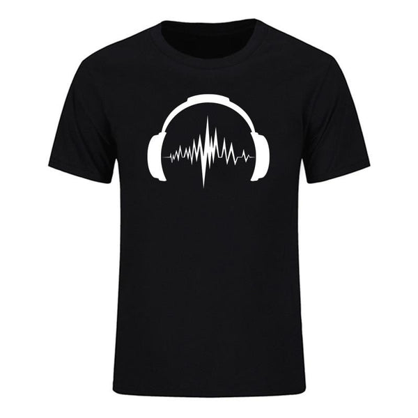 Headphones Sound Waves Men's T-Shirts 100% cotton SJA