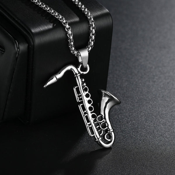 Saxophone Necklace Stainless Steel Chain/ Pendant For Men SJA