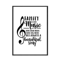 Quote Wall Art Black and White Treble Clef Music Note Quote