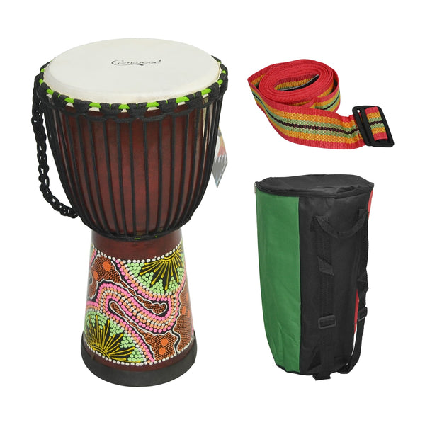 8/10/12 Inch Wooden African Drum Djembe Percussion Musical Instrument Mahogany SJA