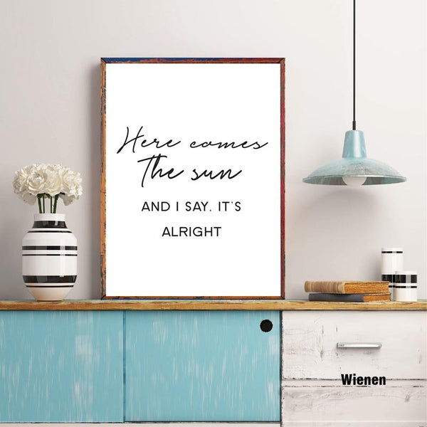 'Here Comes The Sun' Music Quotes Print Wall Art Decor
