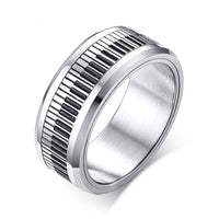 Rotatable Piano Keyboard Ring For Men Stainless Steel Spinning Piano Ring Band Music Lover Musician Rotating Jewelry