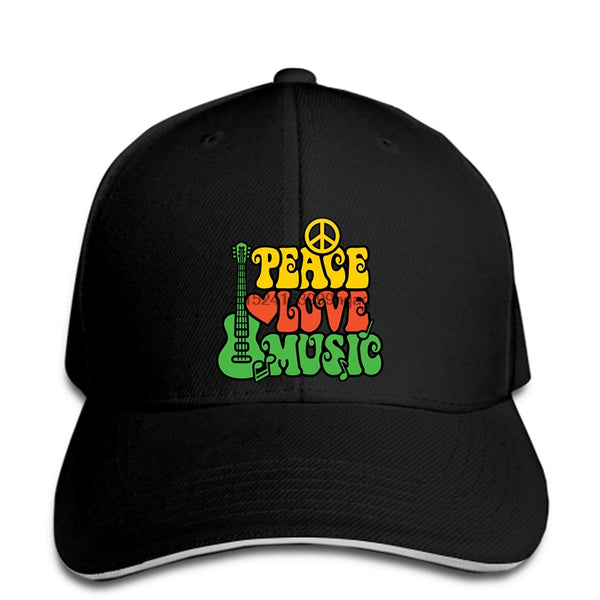 Baseball Cap PEACE LOVE MUSIC Reggae Snapback Hat SJA