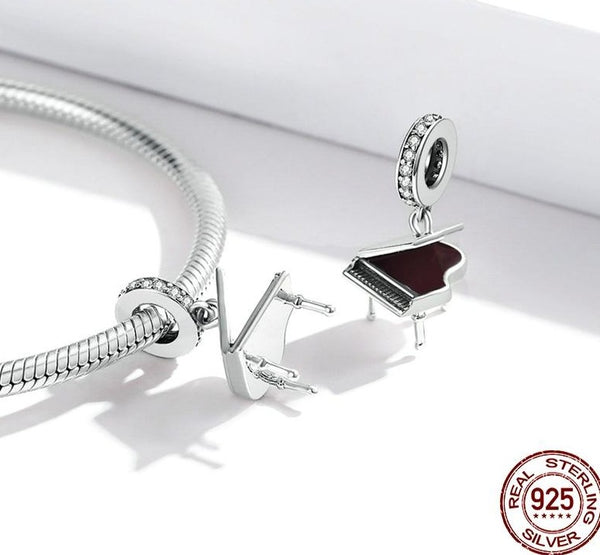 925 Sterling Silver Piano Pendant Musical Instrument Bracelet Necklaces
