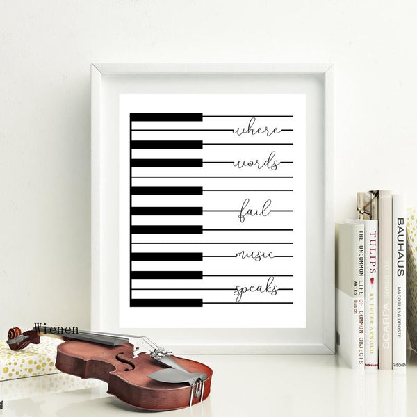 'Where Words Fail Music Speaks' Music Quote Art Piano Wall Decor