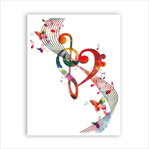Treble Clef Bass Clef Wall Art Music Notes Poster Art Canvas SJA