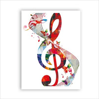 Treble Clef Bass Clef Wall Art Musique Notes Affiche Art Toile SJA