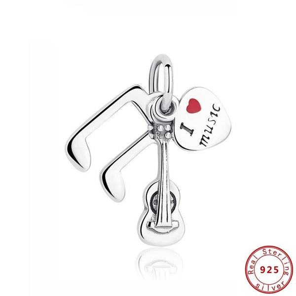 'I Love Music' Charm 925 Sterling Silver Pendant