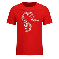 Musique T-Shirt 'MUSIC IS THE MEDICINE OF THE MIND' Top Tee Casual Coton