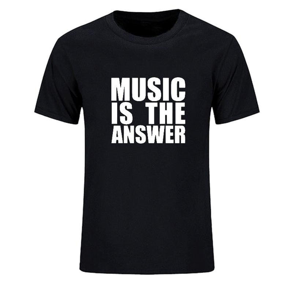 T-shirt 'MUSIC IS THE ANSWER' Cotton Casual Tee Shirts SJA