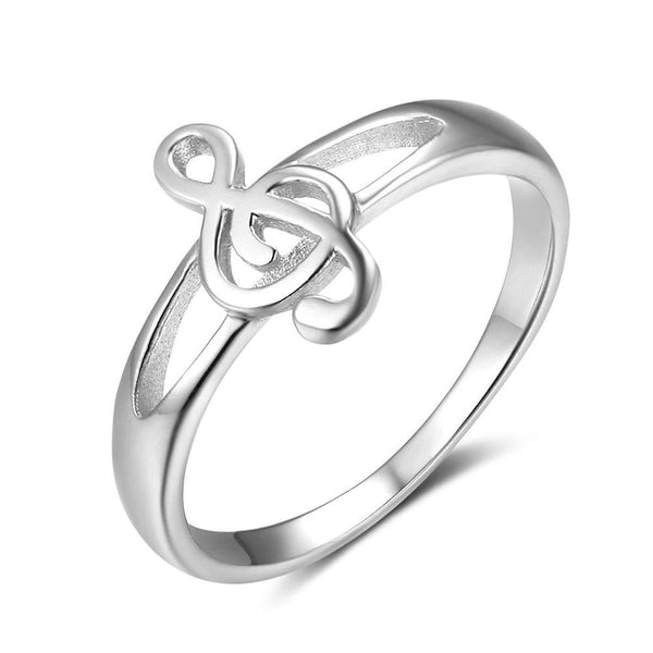Treble Clef Ring 925 Sterling Silver For Women Musical Notes Fashion Jewelry