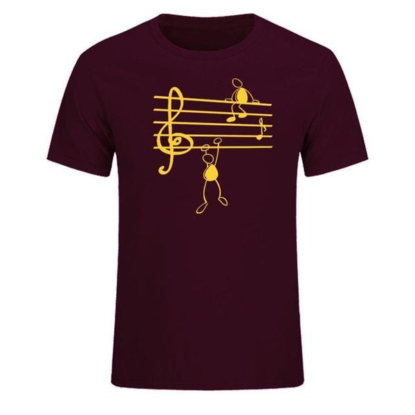 Music Notes Print T-shirt Men Clothing Cotton Short Sleeve