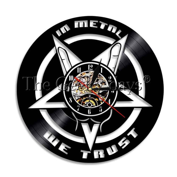 Music Quote Wall Clock 'In Metal We Trust' Music Quote Rock Decor Wall Art SJA