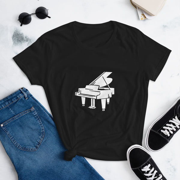 Baby Grand Piano T-Shirt Women's short sleeve 100% Cotton Top