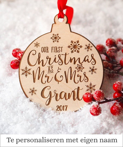 Houten Ornament – First Christmas as Mr & Mrs - Epic Wood