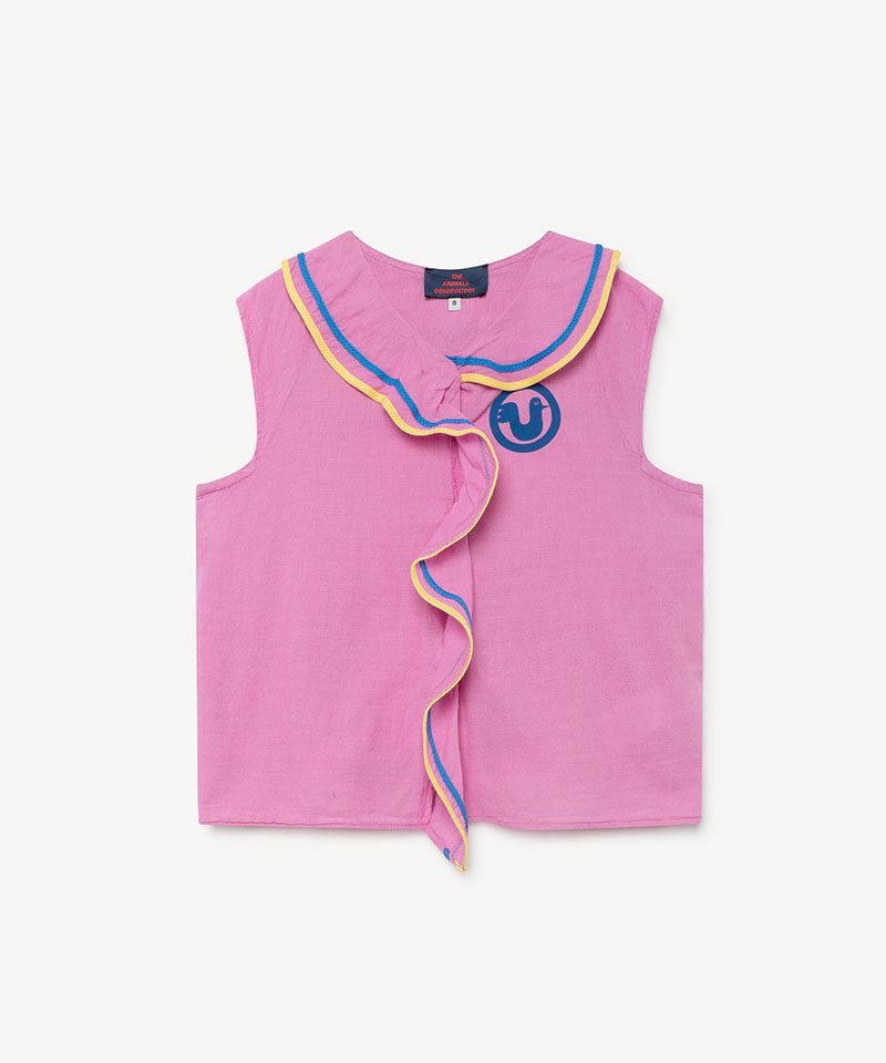 Kangaroo Kids Blouse, Fuchsia Bird