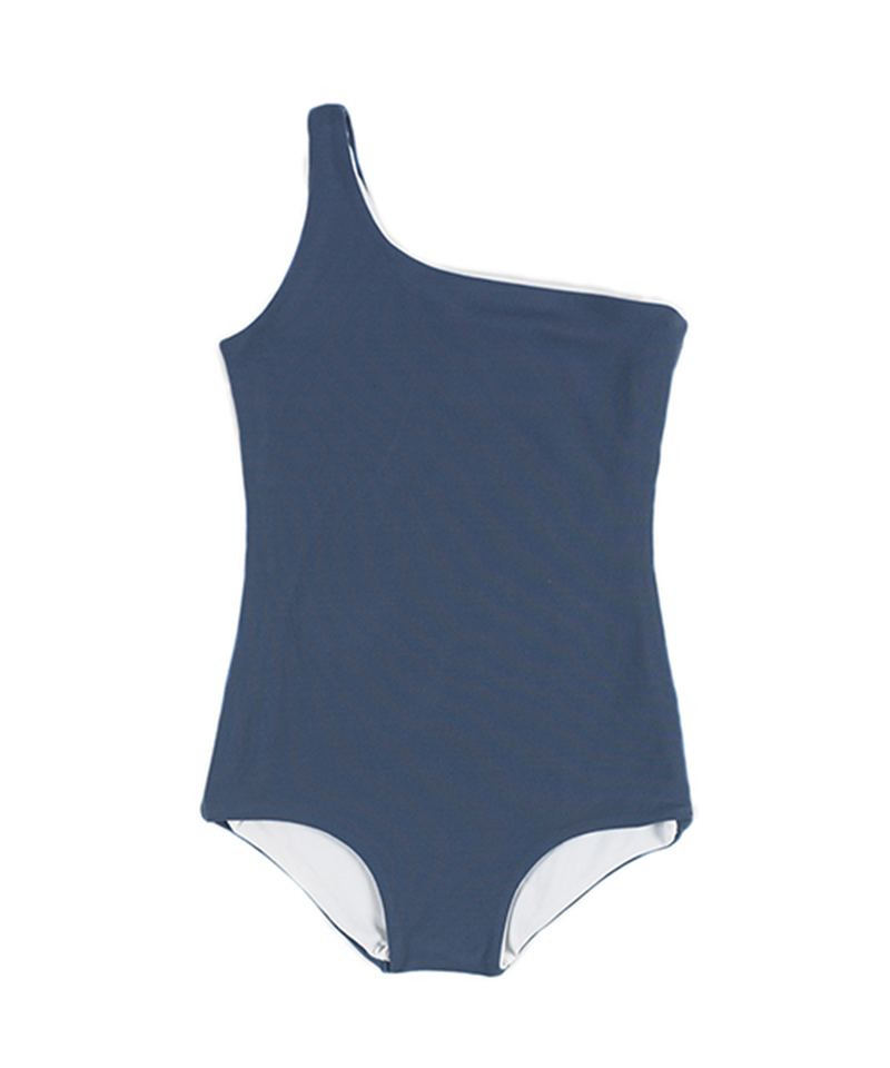 Asymmetric Bathing Suit (Navy soft/White)009A