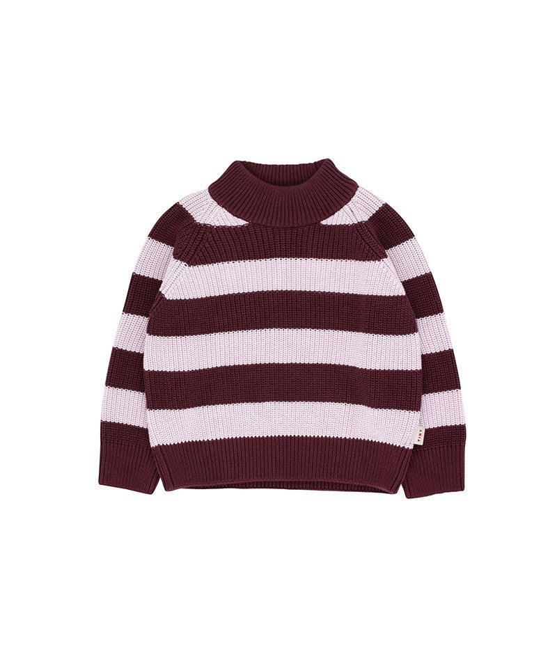 Stripes Sweater, Aubergine/Light Lilac