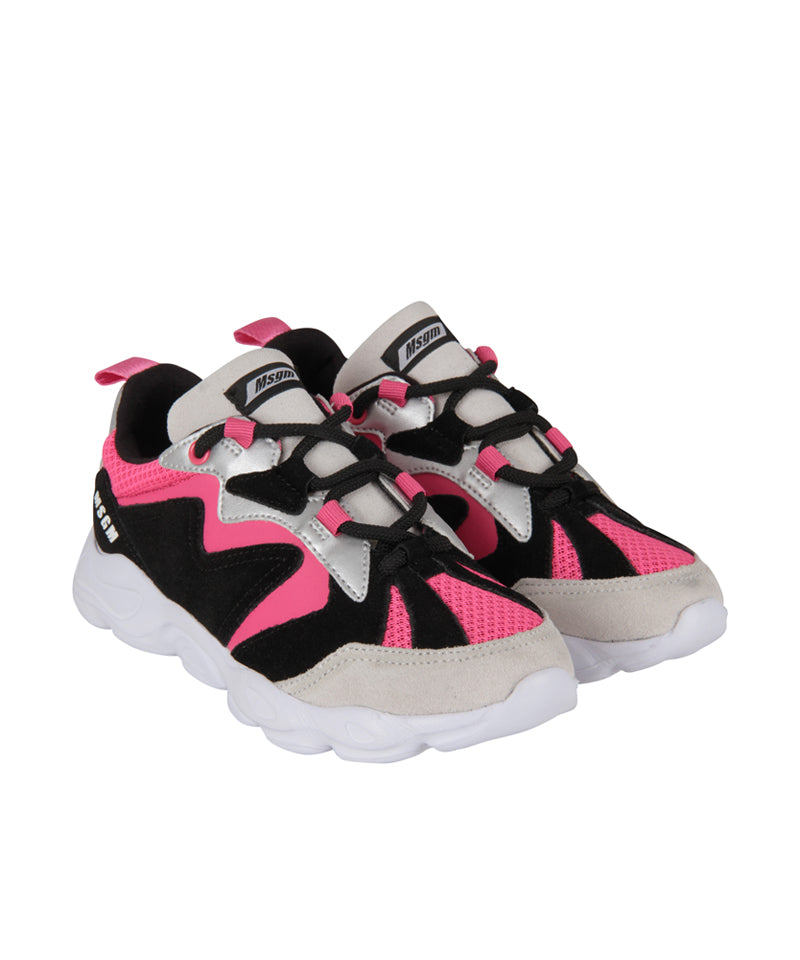 MSGM Colour-Block Sneakers, Fucsia