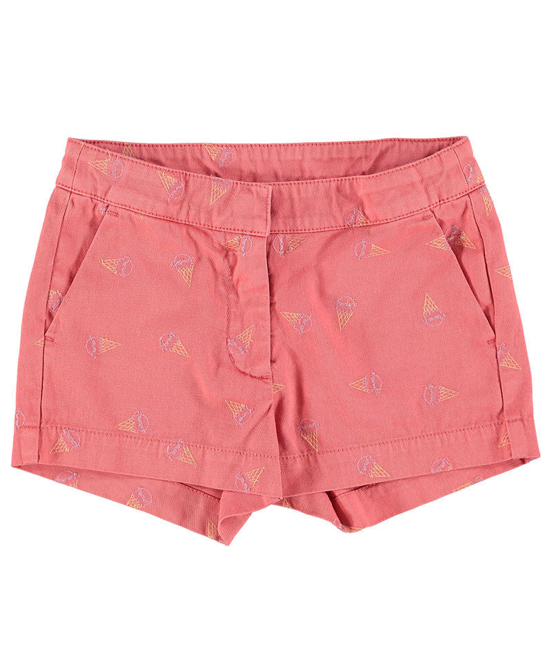 Lori Ice Cream Embroidered Shorts, Pink