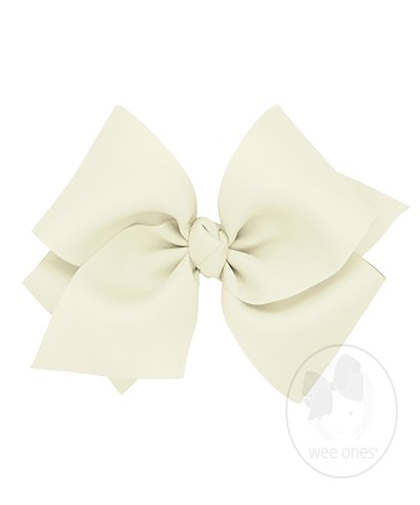 Huge Grosgrain Basic Bow w/ Antique White