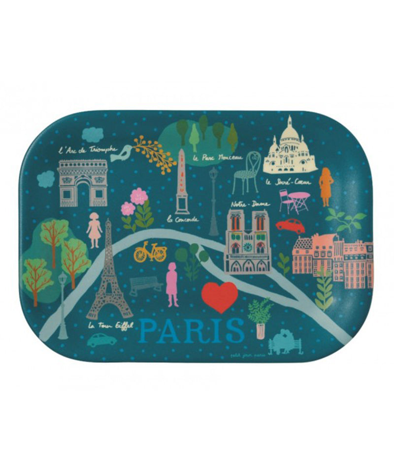 "Mini Tray ""Plan De Paris"" Bleu Le Paris Demilie"