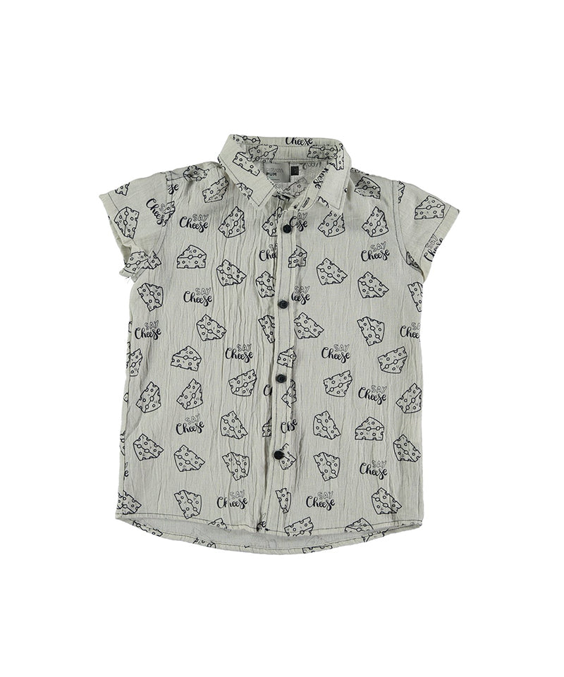 Orbita Allover Say Cheese Shirt, Raw