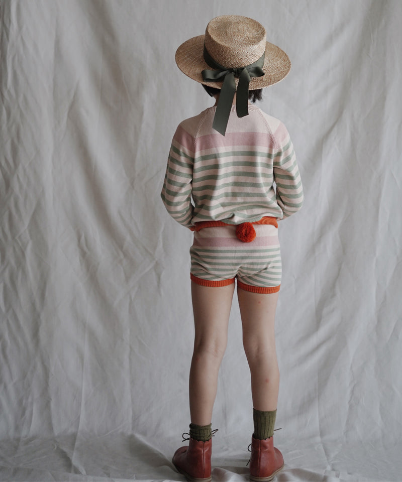 Stripe Shorts With Pompom, Pink