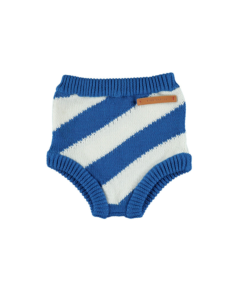 Knitted High Waisted Shorties, Indigo Stripes