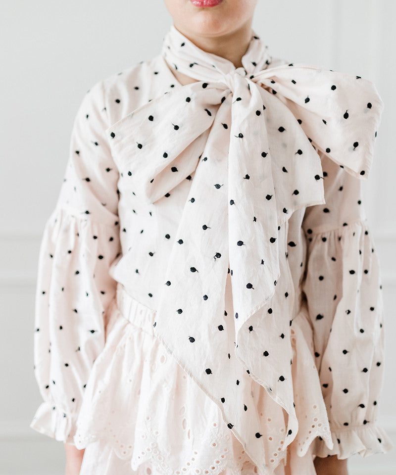 Black Embroidered Dot Pussy Bow Blouse, Rose Water