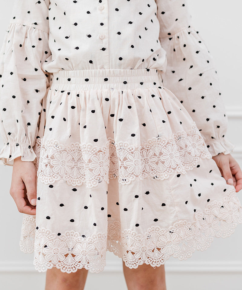 Black Embroidered Dot Skirt, Rose Water