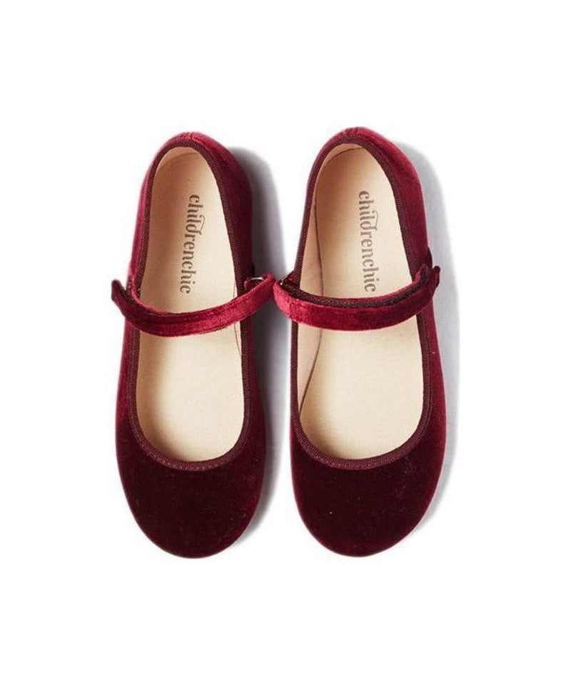 Childrenchic Velvet Burgundy Mary Janes