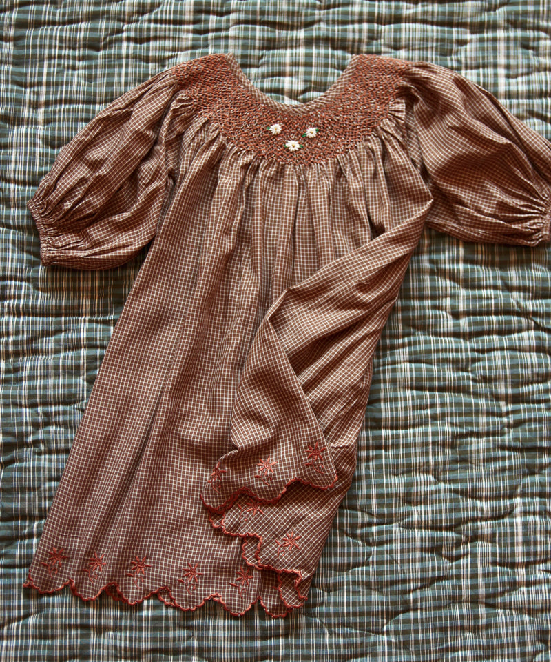 Butterfly Dress with Balloon Sleeve, Caramel Check