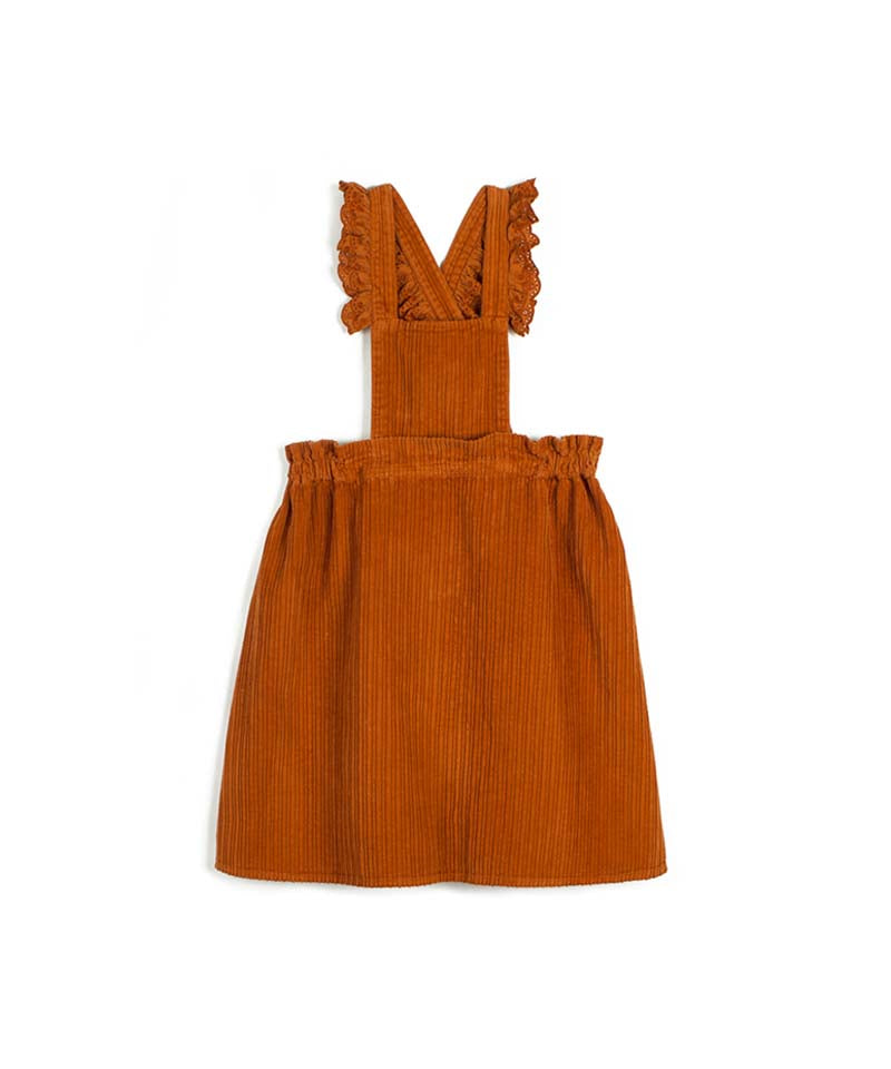 Corduroy Orange Carmen Dress