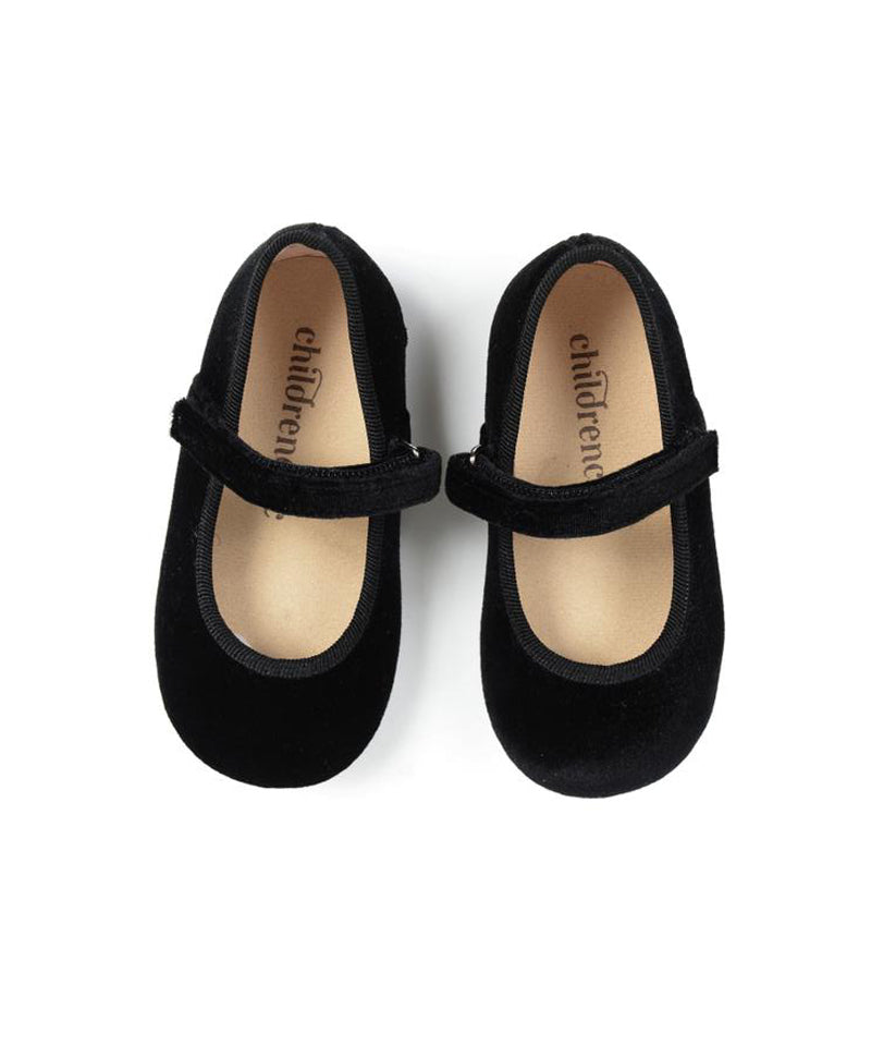 Childrenchic Velvet Black Mary Janes