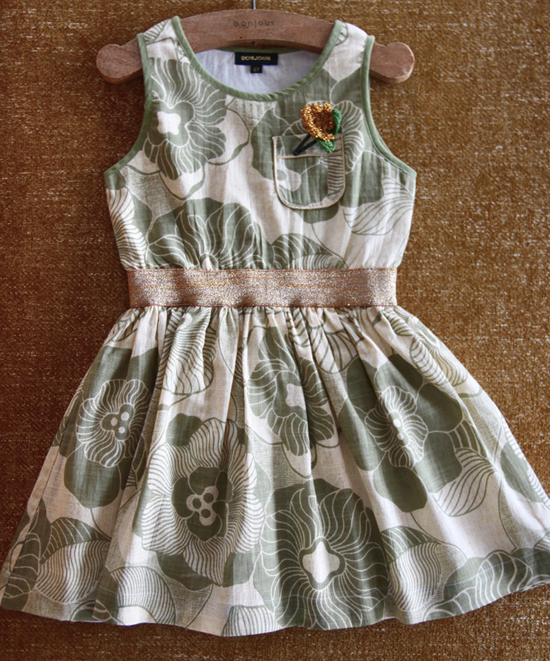 Derbardeur Dress, Moss Green Flower Print