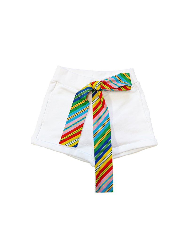 White Fleece Bermuda Shorts
