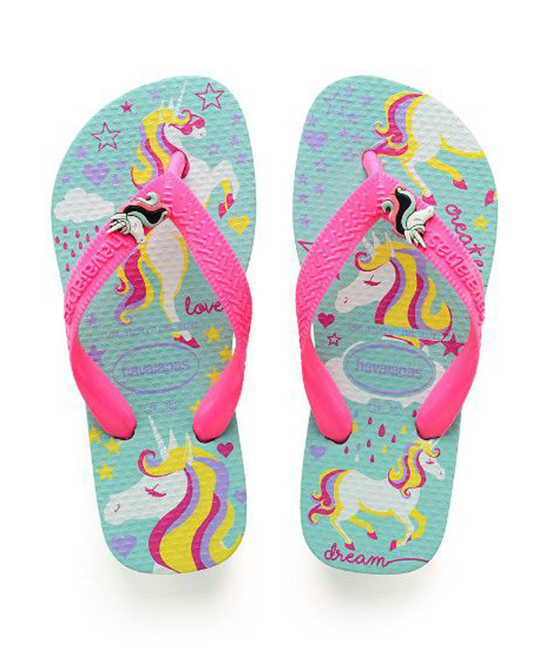 Kids Fantasy Flip Flops, Ice blue/Shocking pink