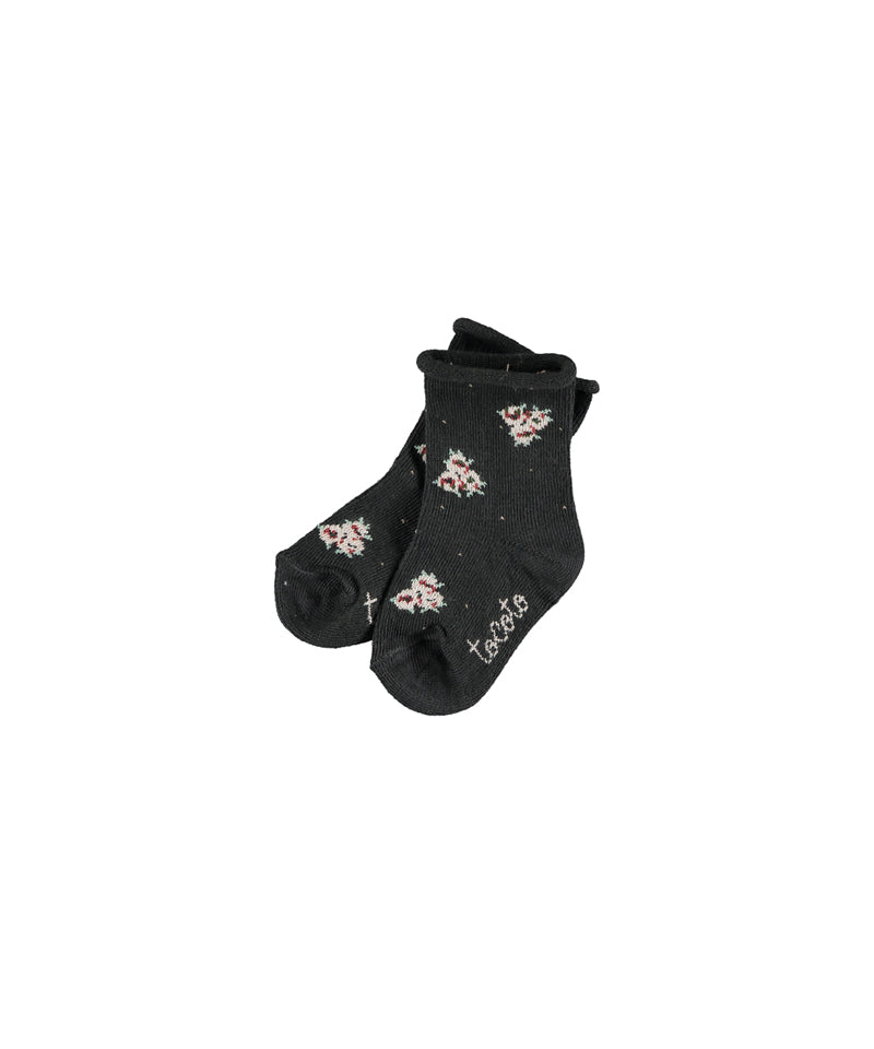 Flower Print Socks, Dark Brown