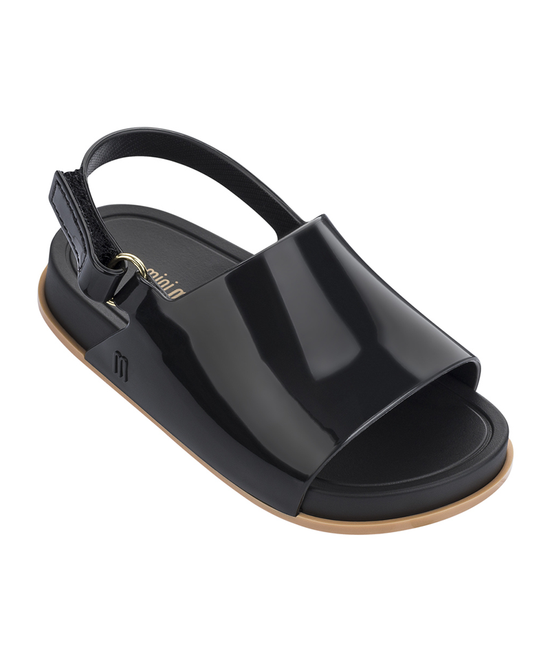 Mini Beach Slide Sandal, Black Beige