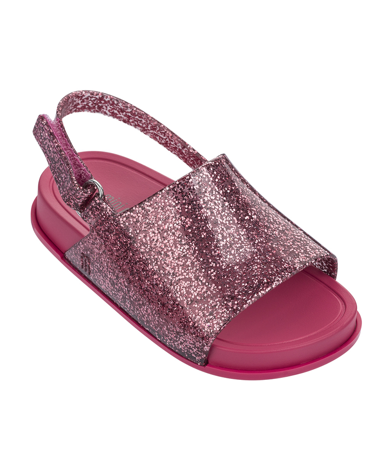 Mini Beach Slide Sandal, Pink Glitter