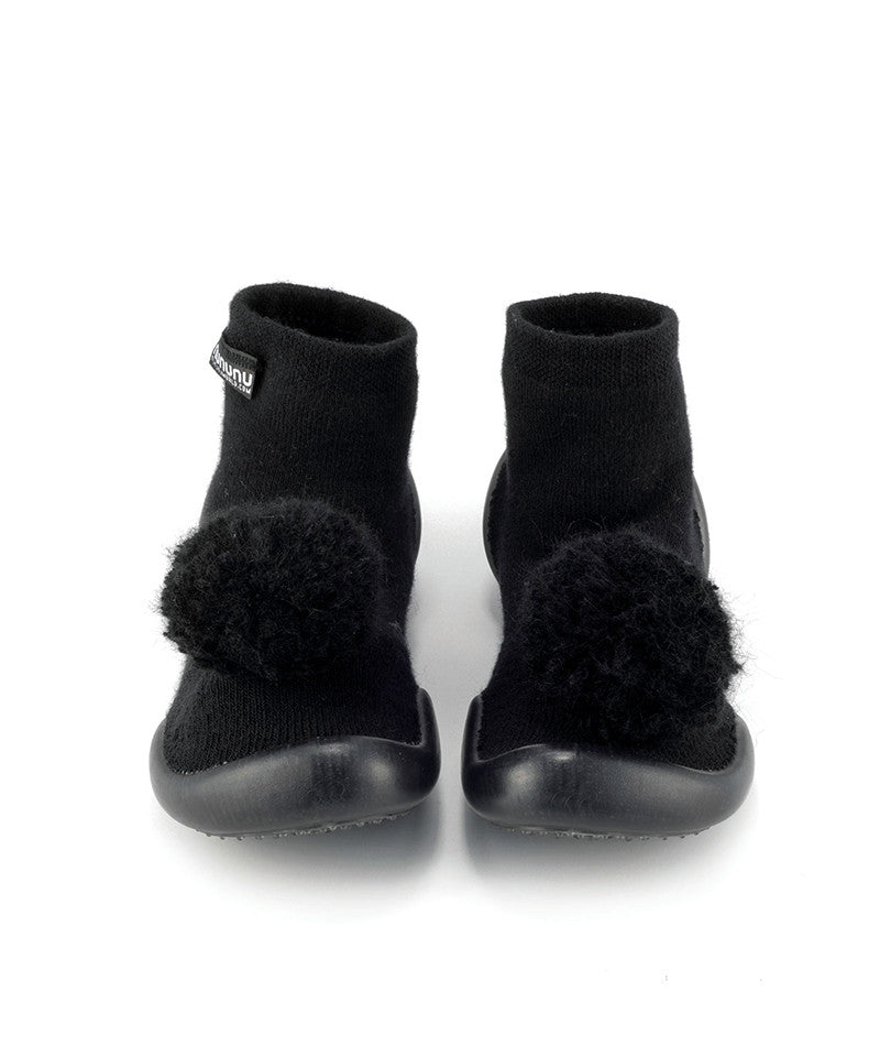 NC107A Pom Pom Slippers Black
