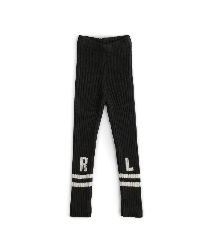 NU2774 Low Stripe Knit Leggings, Black