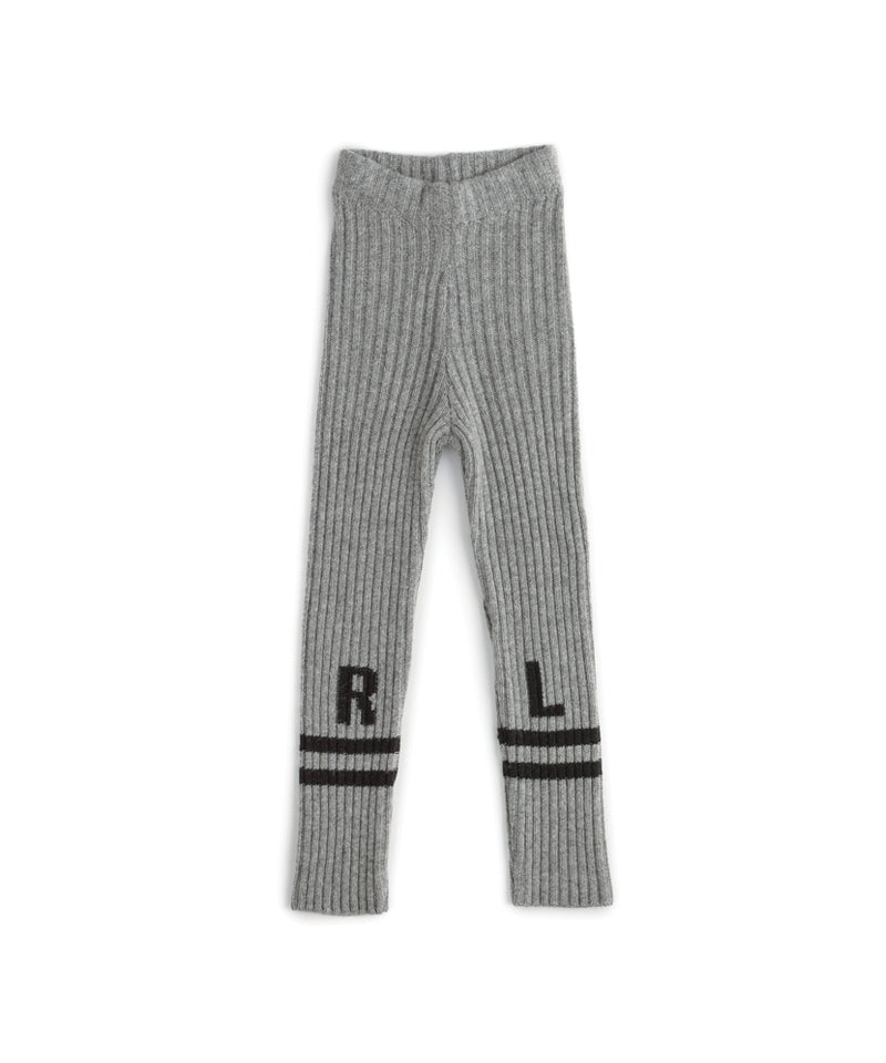 NU2774 Low Stripe Knit Leggings, Heather Grey
