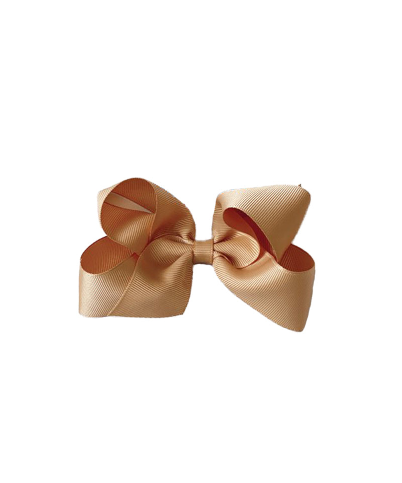 Classic Grosgrain Hair Bow, Old Gold