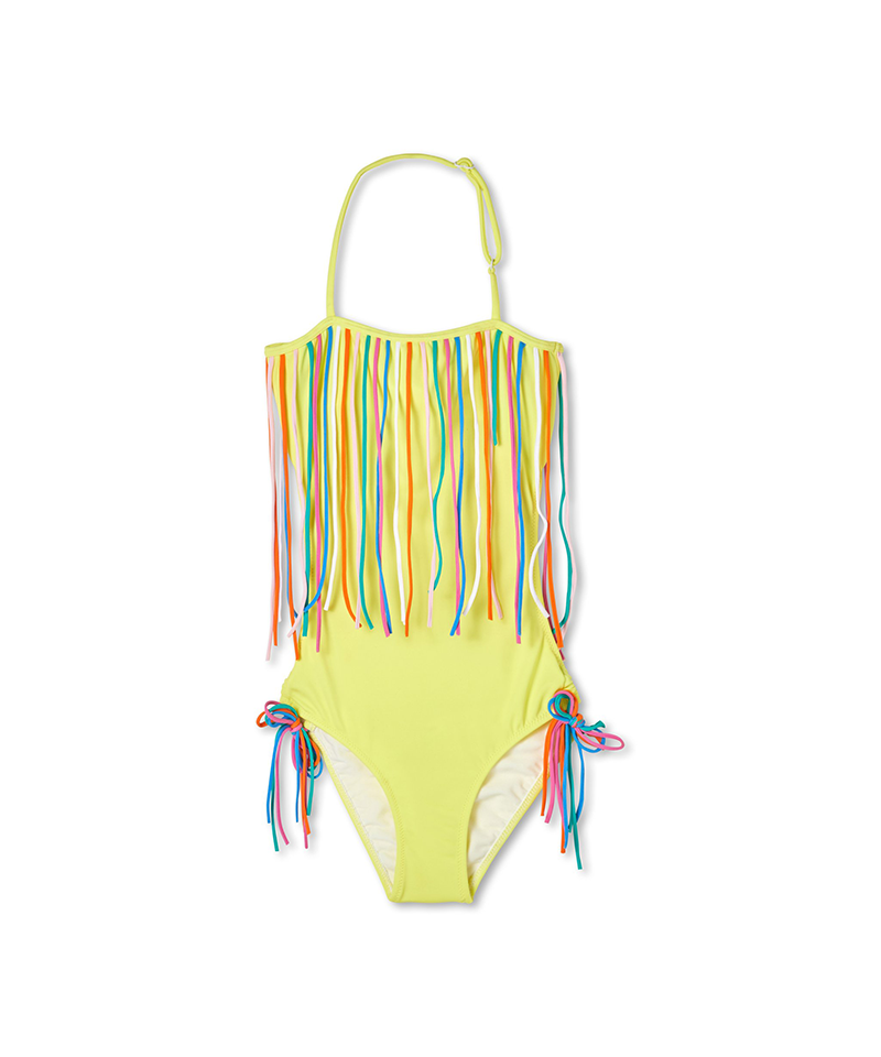 Open Back String Swimsuit, Yellow