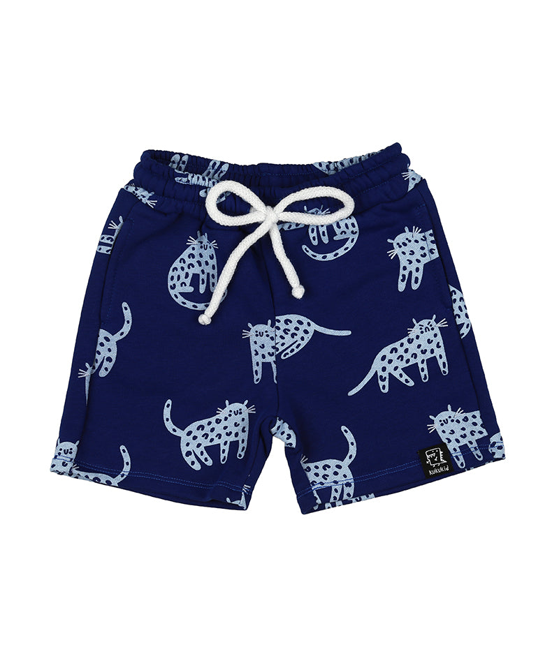 Pocket Shorts, Berry Blue Cheetah