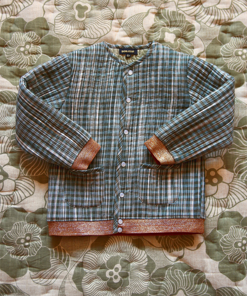 Quilted Jacket with Cotton Filling, Ikat Check