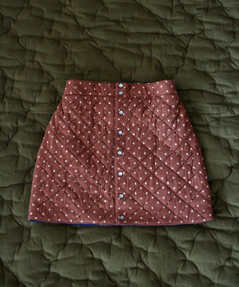 Quilted Skirt, Ecru Dots on Brown